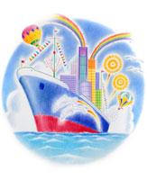 海上の客船の上のビル群から虹と花火と気球