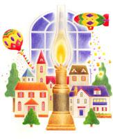 窓の前で飛ぶ飛行船と気球とランプと家並み