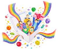 虹のリボンのプレゼントボックスと家族と犬