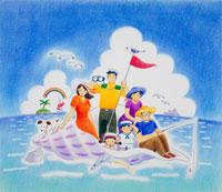 イルカや魚のいる海で巻貝に乗る3世代家族 02237003410| 写真素材・ストックフォト・画像・イラスト素材|アマナイメージズ