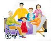 介護ベッドと車椅子の老夫婦と若夫婦家族