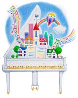 虹の音符の出る白いグランドピアノの上の街