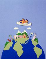 地球の名所を飛行機で巡る家族の世界旅行