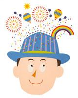 建物の帽子をかぶる男性と頭上のカーニバル 02237003440  写真素材・ストックフォト・画像・イラスト素材 アマナイメージズ