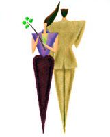 背中合わせのカップルと四つ葉のクローバー