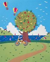 夏の木に自転車と気球