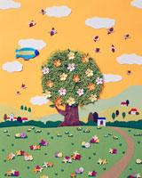 春の花の木と鳥と飛行船 02237003506| 写真素材・ストックフォト・画像・イラスト素材|アマナイメージズ