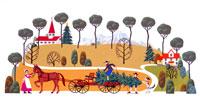 モミの木を馬車に積む3人の家族
