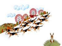 秋の野を駆けるたくさんのビーグル犬 02237003530| 写真素材・ストックフォト・画像・イラスト素材|アマナイメージズ