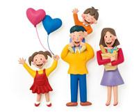 ハートの風船を持つ女の子と家族