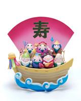 宝船に乗ったタマゴ七福神