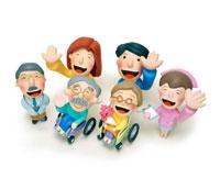 車椅子の老夫婦と医者と看護婦