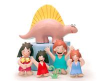 恐竜と4人の原始人の子供