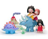 トリケラトプスに乗って遊ぶ子供