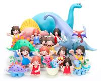 9匹の恐竜と子供たち