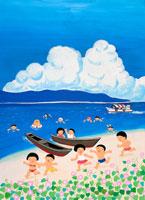 浜昼顔と夏の子 02237003857| 写真素材・ストックフォト・画像・イラスト素材|アマナイメージズ