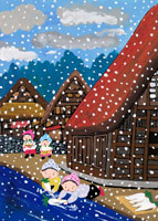 雪の降る川べりで大根を洗う家族 02237003905| 写真素材・ストックフォト・画像・イラスト素材|アマナイメージズ