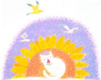 向日葵の上で西瓜を持つ白猫と鴎