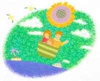 向日葵の気球に乗った親子