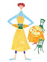 テーブルを背景に料理をする女性 02237004016| 写真素材・ストックフォト・画像・イラスト素材|アマナイメージズ