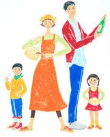 料理をする若い夫婦と子供2人 02237004024| 写真素材・ストックフォト・画像・イラスト素材|アマナイメージズ