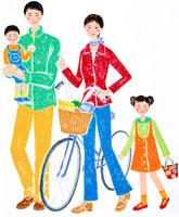 自転車で買い物をする4人家族