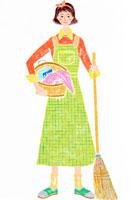 洗濯用品とほうきを持ち家事をする女性
