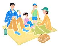 ピクニックをする4人家族 02237004048| 写真素材・ストックフォト・画像・イラスト素材|アマナイメージズ