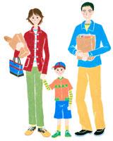 買い物をする若いカップルと男の子