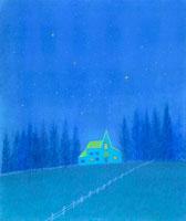 星がまばたく高原の空とたたずむペンション