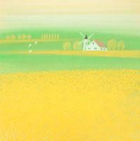 デンマークの菜の花畑で風車のある家