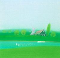 白い風車のある水辺のコテージと白鳥