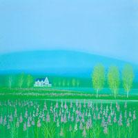 ヤナギランの咲く水辺白樺の林とペンション