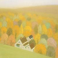 秋色の森が遠くまで続くよりそう白い家 02237004136| 写真素材・ストックフォト・画像・イラスト素材|アマナイメージズ