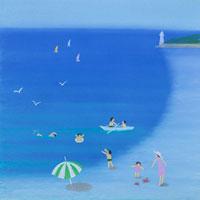 海水浴カニを見つけて喜ぶ親子と白い灯台 02237004153| 写真素材・ストックフォト・画像・イラスト素材|アマナイメージズ