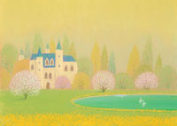 池に白鳥が遊ぶ古城の庭すももの花咲く