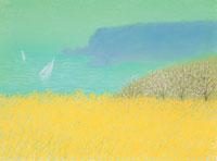 菜の花畑の向こうに春の海と白いのヨット