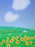 せみとりの子供白い雲ひまわりが咲く夏 02237004197| 写真素材・ストックフォト・画像・イラスト素材|アマナイメージズ