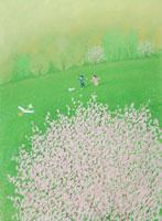 大きな桜の木の下で飛行機を飛ばす子供たち