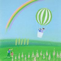 虹の空に気球に乗って飛び出す母と子
