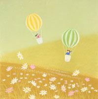 コスモスの丘で気球に乗る子供たち