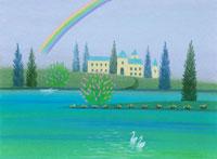 虹の見える水辺の2羽の白鳥と古城のホテル