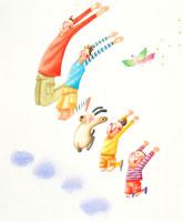 ジャンプする家族と犬と幸せを運ぶ鳥 02237004266| 写真素材・ストックフォト・画像・イラスト素材|アマナイメージズ