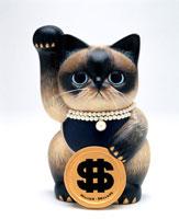 ドルを持ったエキゾチック招き猫