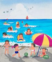 砂浜でスイカ割りする子供達