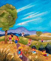 秋の野原に赤とんぼと子供達