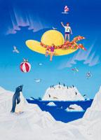麦わら帽子の上の家族と氷山のペンギン