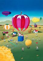 リンゴや柿、梨の気球に乗るファミリー