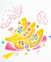 バナナの家で桜のお花みをする家族