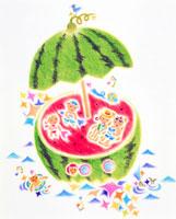 パラソルのスイカの家で海水浴をする家族 02237004649| 写真素材・ストックフォト・画像・イラスト素材|アマナイメージズ